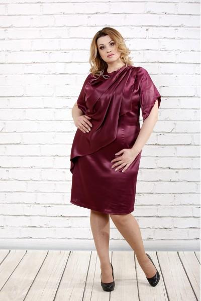 Бордовое атласное платье | 0728-2