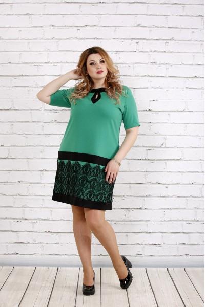 Зеленое платье с кружевом | 0733-1 - последний 50р