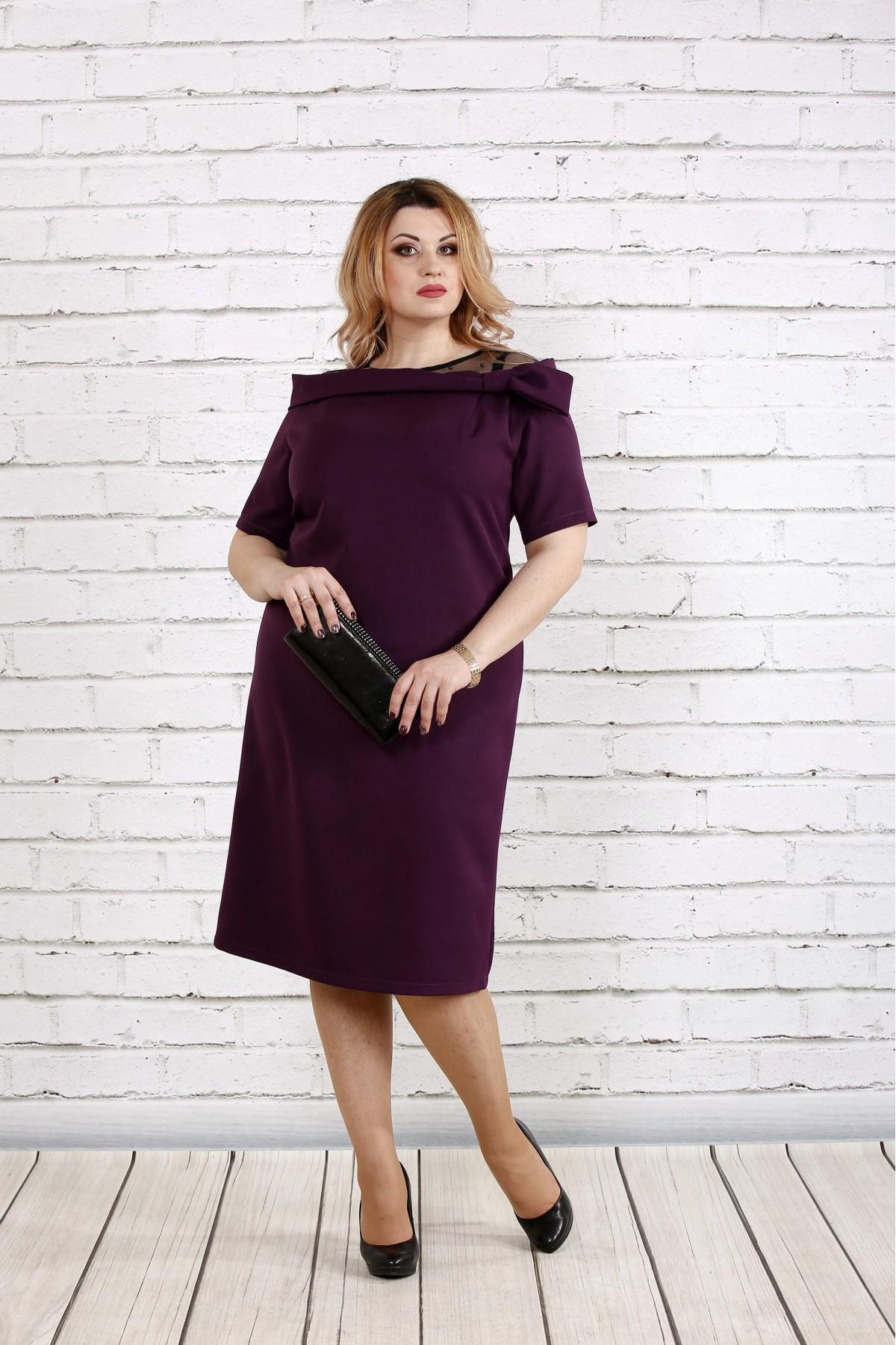 Стильное и нарядное баклажановое платье   0734-2