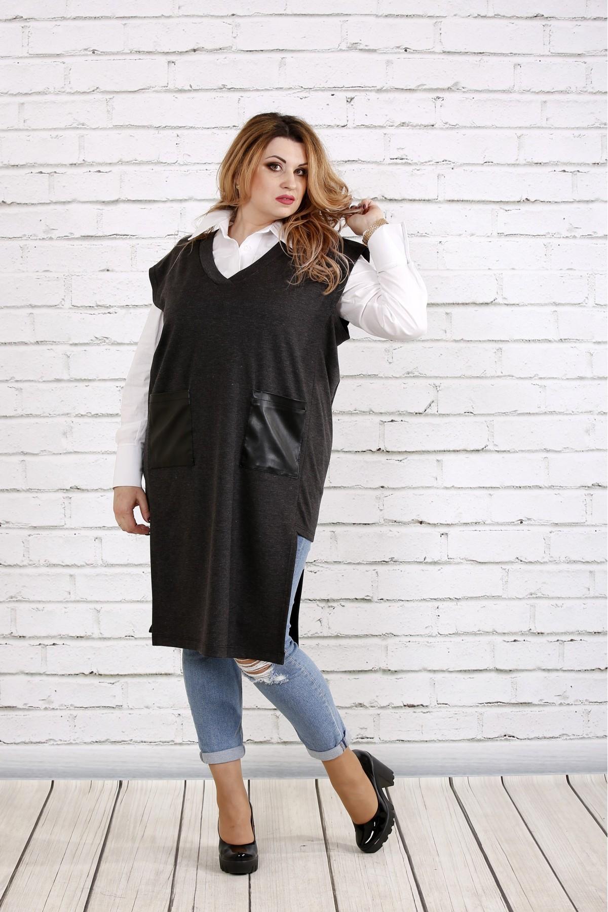 Темно-серая жилетка с карманами   0740-2