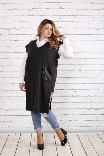 Темно-серая жилетка с карманами | 0740-2