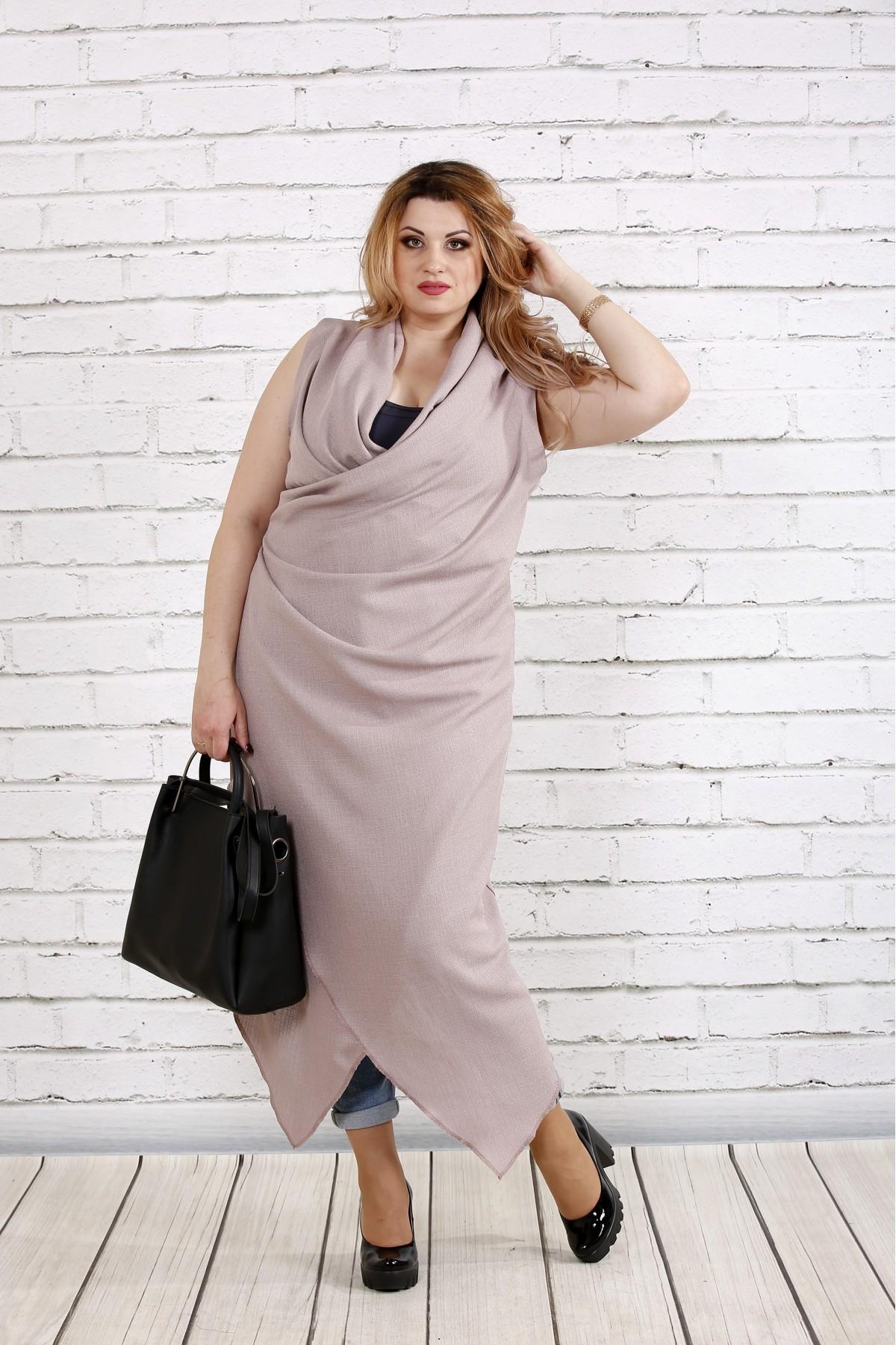 Льняное платье-туника цвета мокко   0741-2