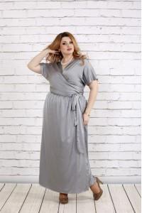 Великолепное платье стального цвета   0742-1