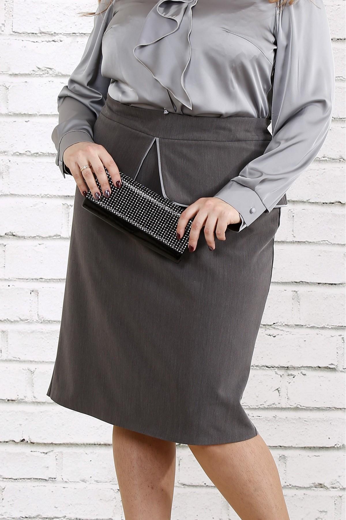 Темно-серая юбка из вискозы   0749-1