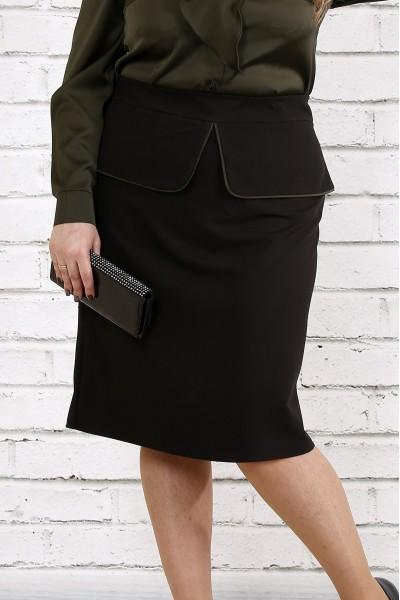 Черная стильная юбка | 0749-2 - последний 58р