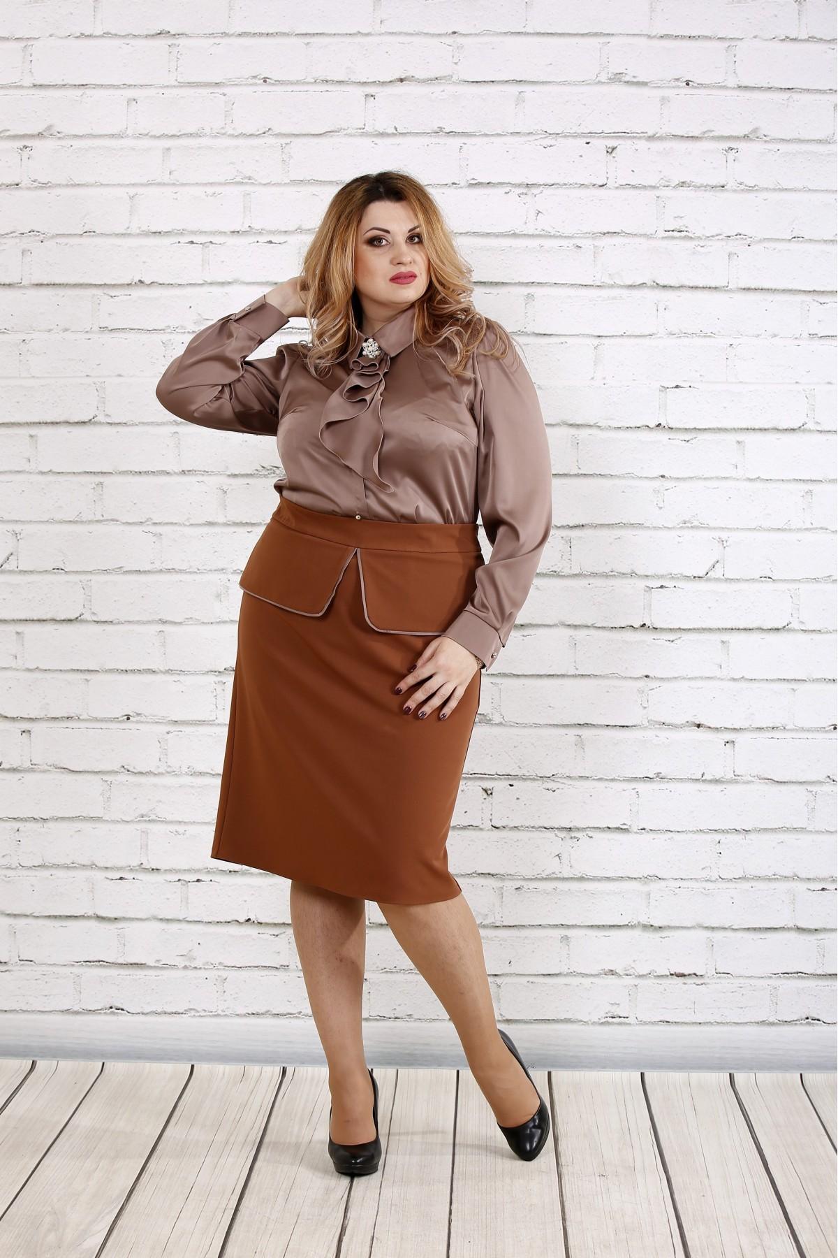 Кофейная шелковая блузка | 0750-3