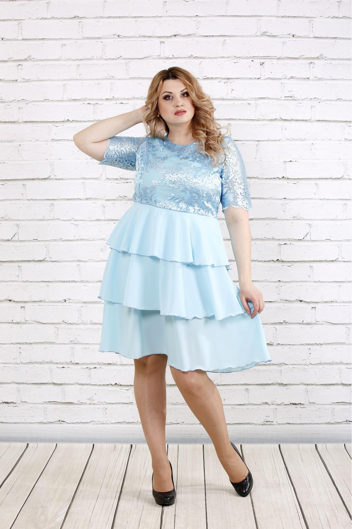 Голубое платье с гипюром   0754-3