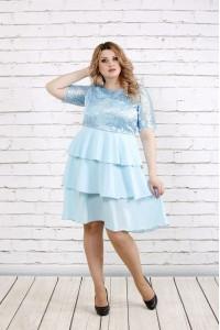 Голубое платье с гипюром | 0754-3