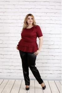 Бордовая блузка с коротким рукавом   0757-2