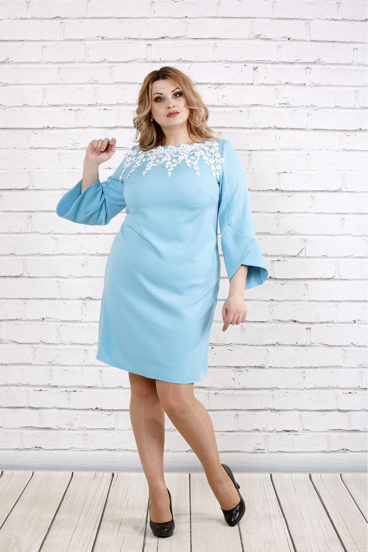 Платье с прошвой нежного голубого цвета | 0760-2