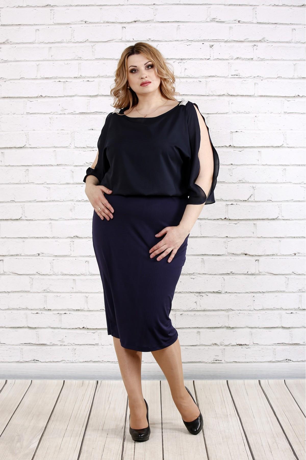 Темно-синее платье с шифоном | 0769-2