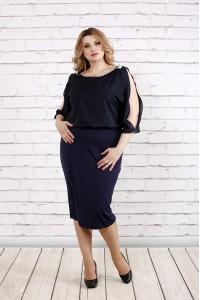 Темно-синее платье с шифоном   0769-2