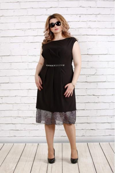 Черное платье без рукавов | 0774-1 - последний 58р