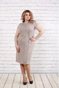 Платье с люриксом бежевое | 0781-3