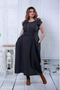 Длинное серое платье | 0804-1