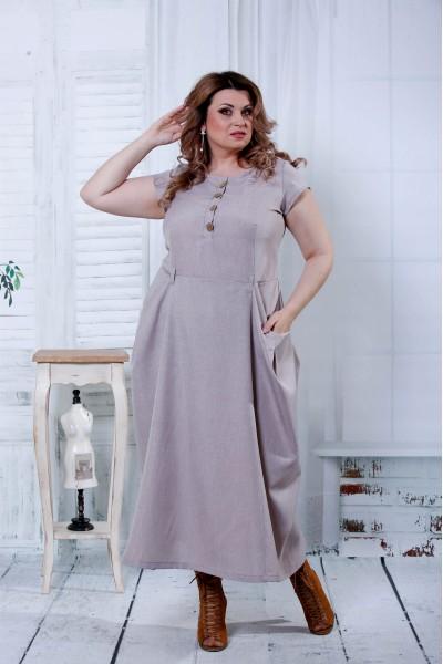 Бежевое красивое платье   0804-2
