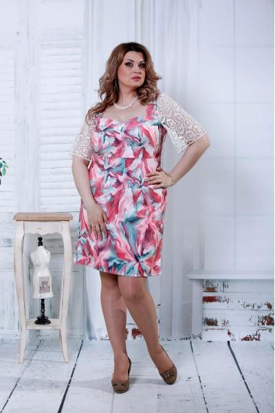 Платье с цветочным принтом | 0806-3 - последний 56, 74р