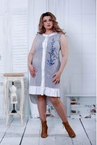 Черное платье с синим цветком   0807-3