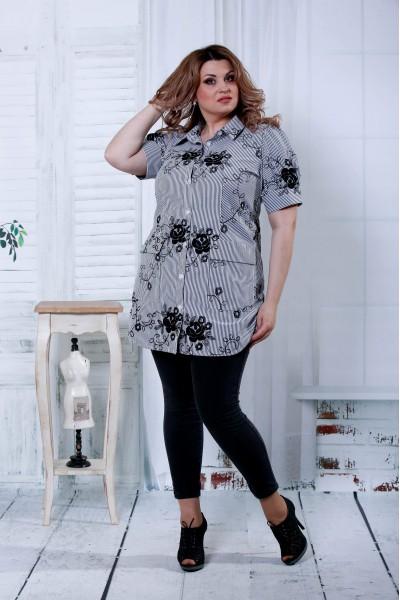 Черная блузка с черными цветами | 0809-2 - последний 52, 56р