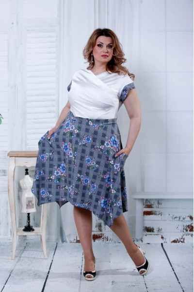 Серое платье с синими цветами | 0812-2 - последний 56р