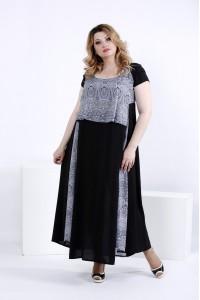 Летнее платье в пол с синим принтом 56 размер | 0826-2