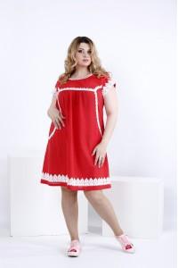Коралловое свободное льняное платье | 0833-3