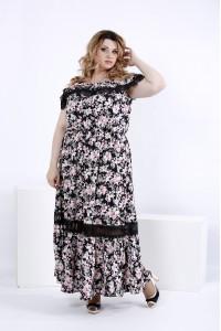 Легкое платье в пол с цветами | 0858-2