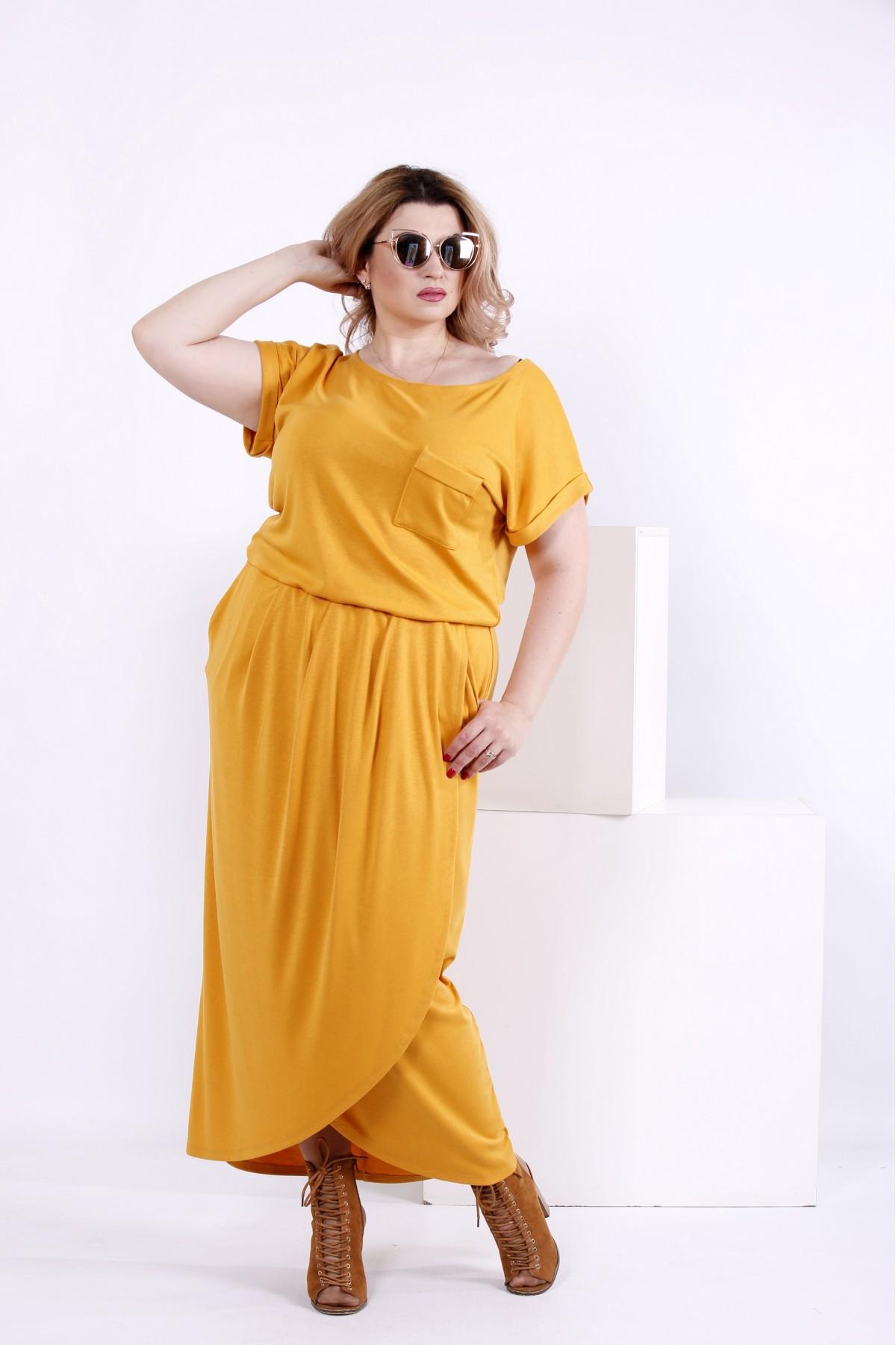 Летнее длинное платье горчица   0839-1