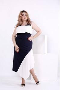 Синее с белым шелковое платье   0840-2