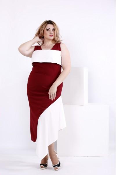 Красивое красно-бело платье из шелка | 0840-3 - последний 56, 74р