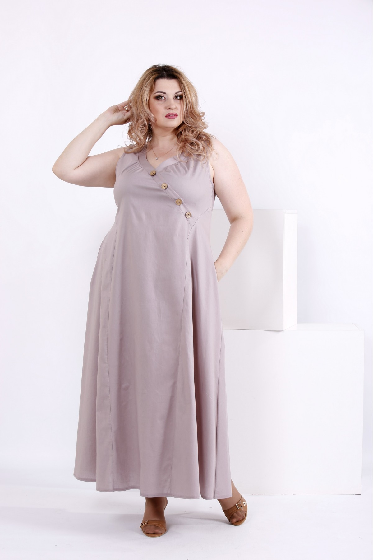 Длинное свободное платье из коттона | 0841-2