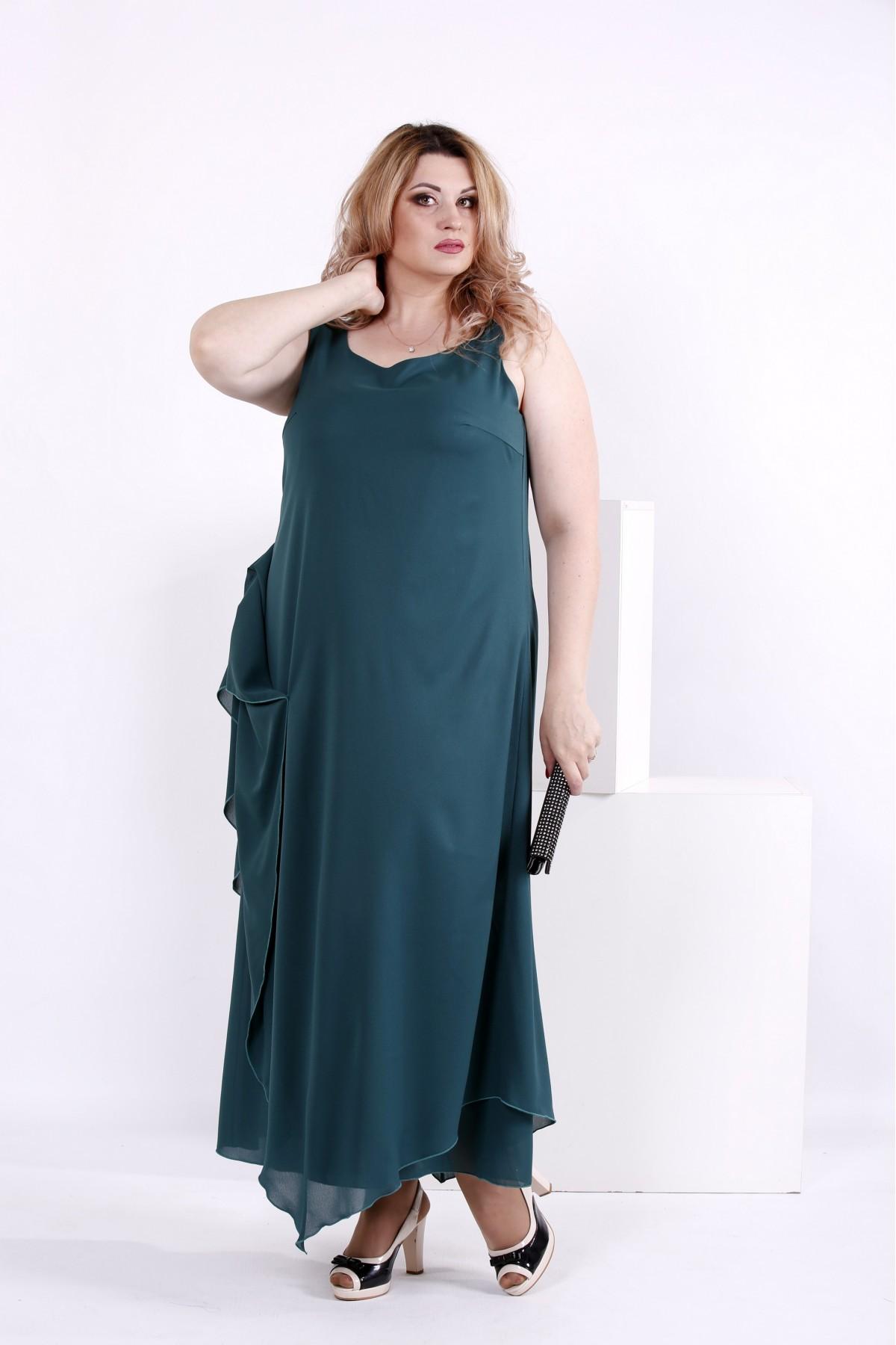 Зеленое длинное шифоновое платье | 0843-1
