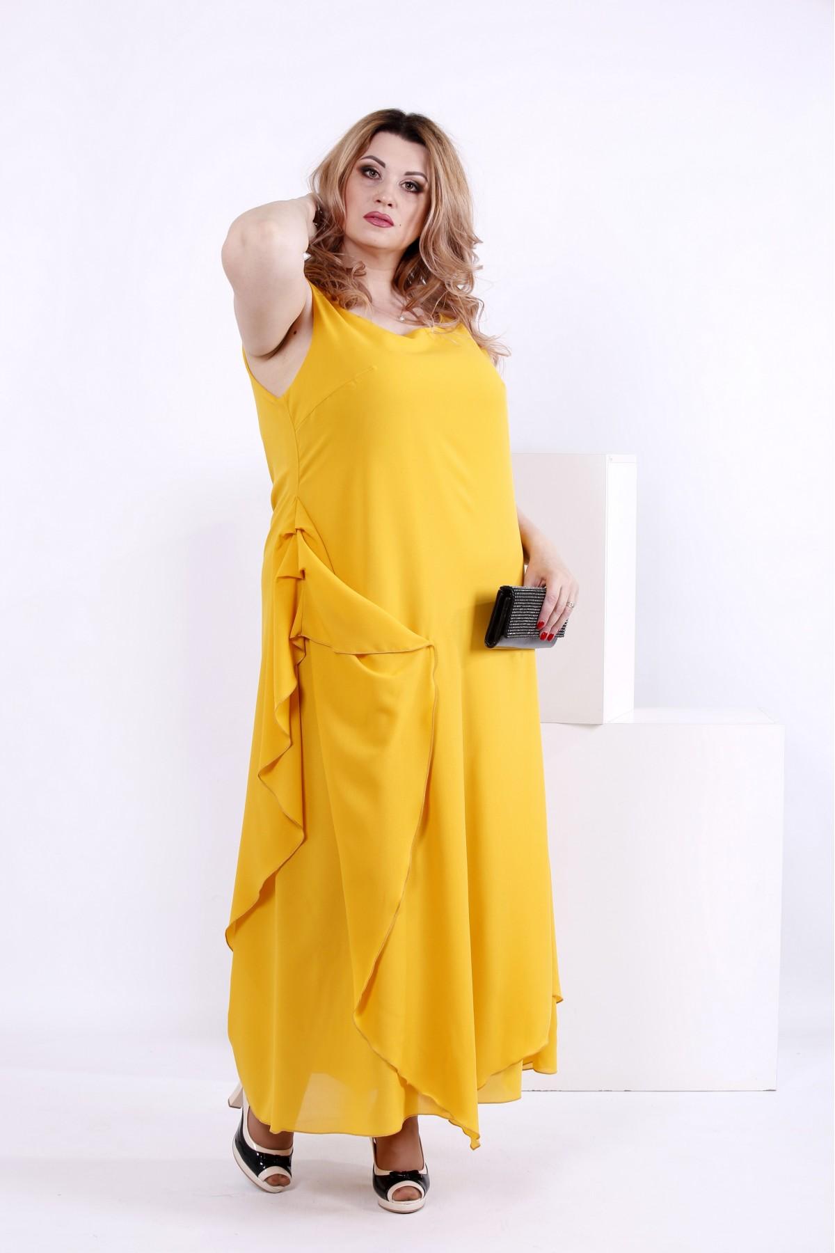 Желтое шифоновое платье | 0843-3