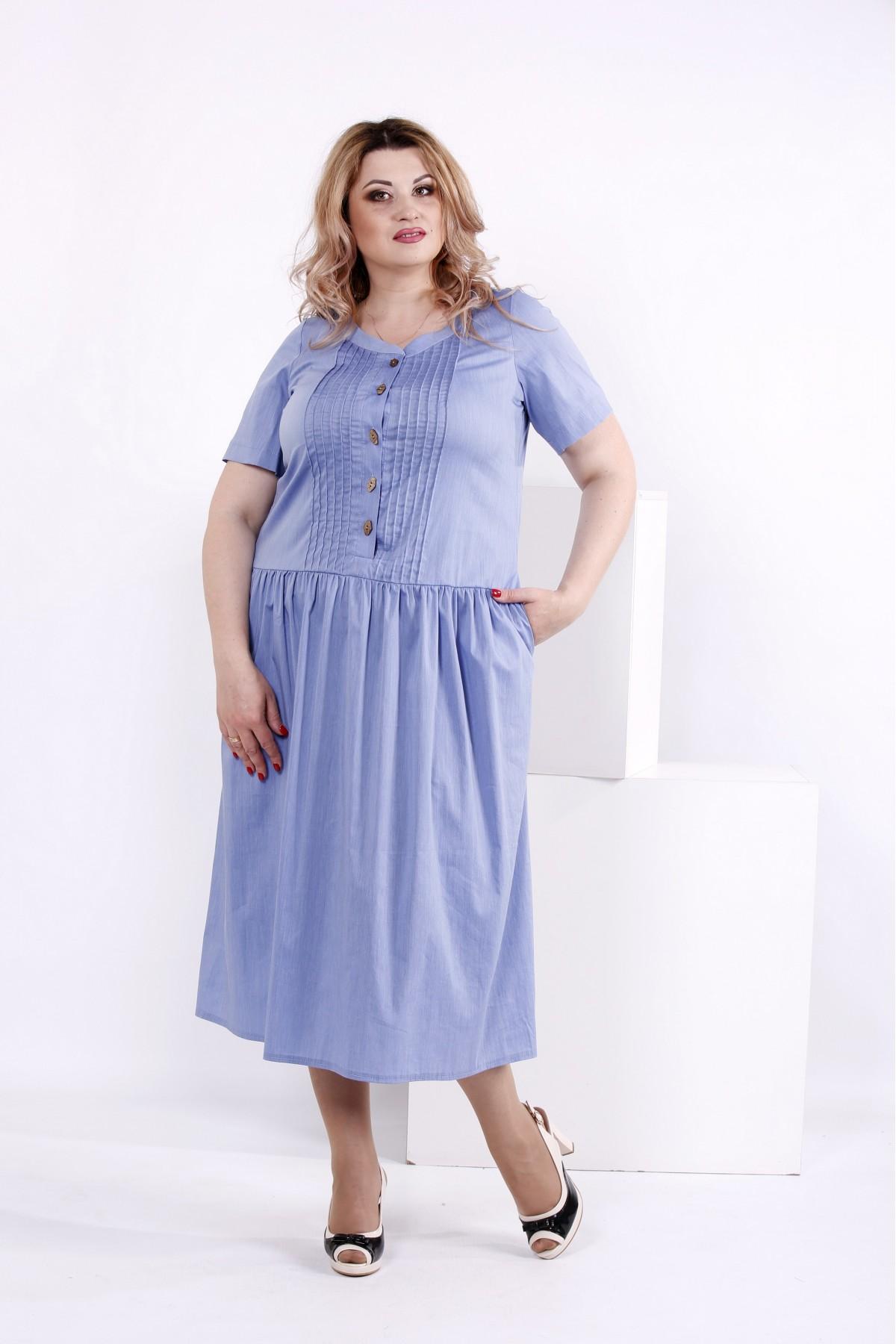 Платье ниже колена цвета джинс | 0845-2