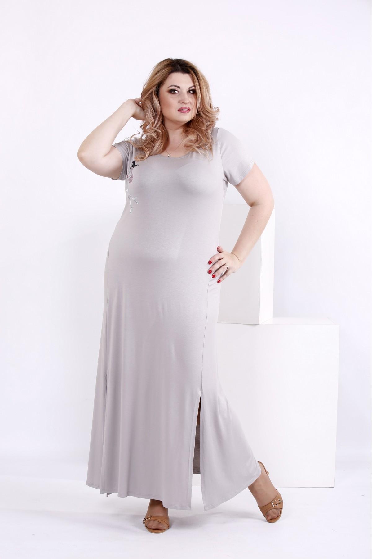 Серое платье из вискозы | 0850-1