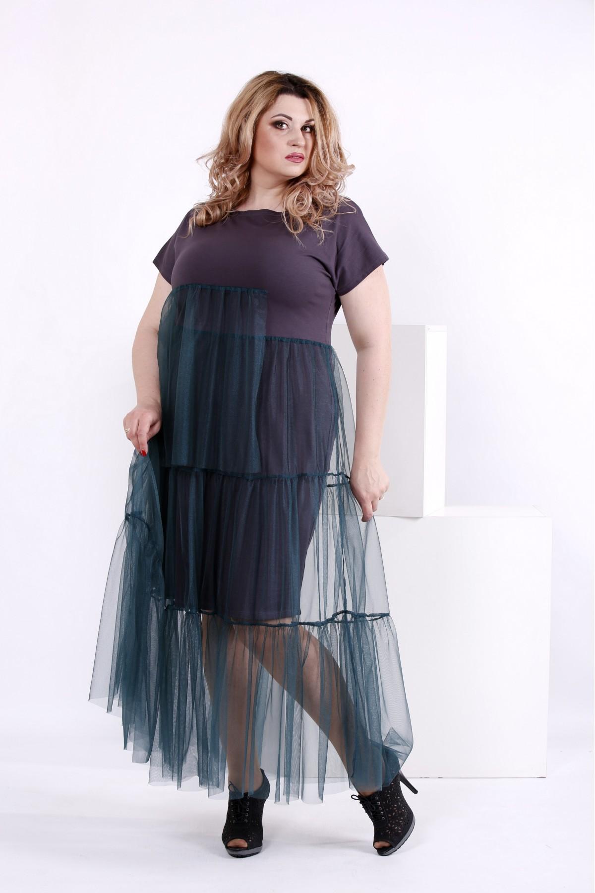 Трикотажное платье с органзой   0851-1