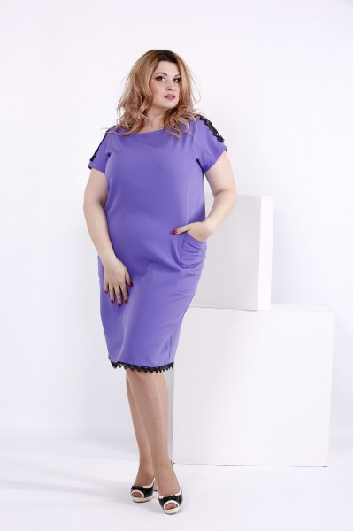 Сиреневое платье до колена | 0853-3