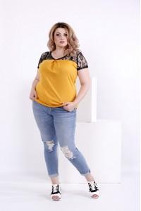 Горчичная блузка с гипюром | 0857-1