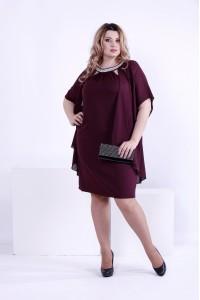 Стильное платье цвета баклажан | 0859-2