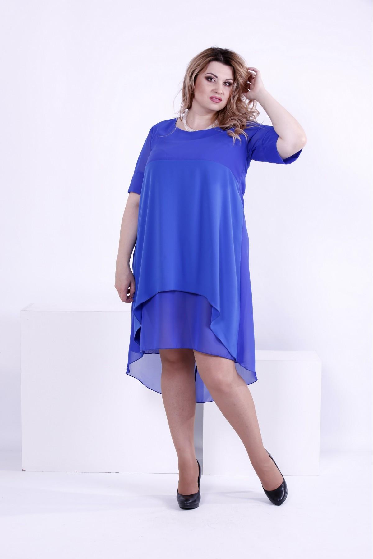 Легкое платье цвета электрик   0860-3