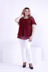 Бордовая легкая блузка из шифона | 0866-3