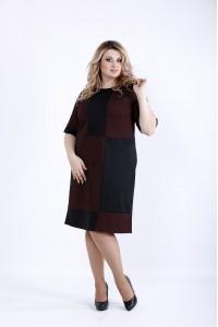 0890-2 | Темное с терракотовым платье с коротким рукавом