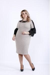 0901-3   Светлое платье с темными вставками из гипюра