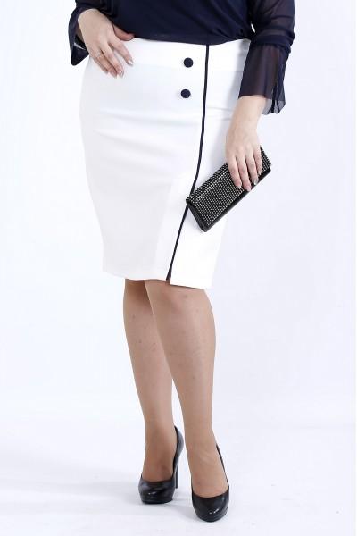 0902-3 | Молочная юбка с синим кантом