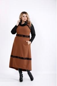 Длинное платье цвета виски   0904-1