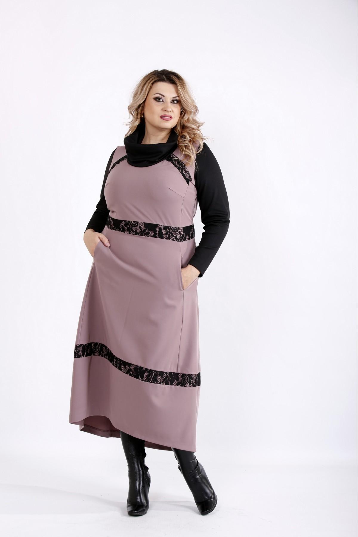 Бисквитное платье с длинным рукавом   0904-2