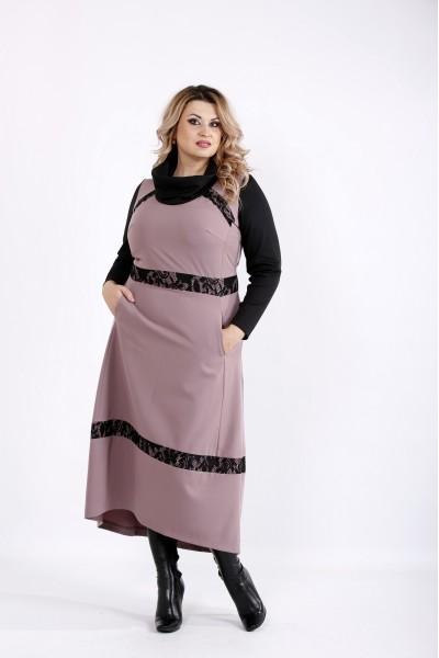 Бисквитное платье с длинным рукавом | 0904-2