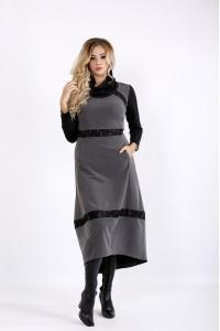 Осеннее серое платье ниже колена | 0904-3