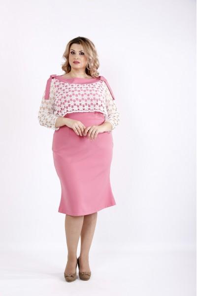 Платье чуть ниже колена с прозрачными рукавами | 0908-2
