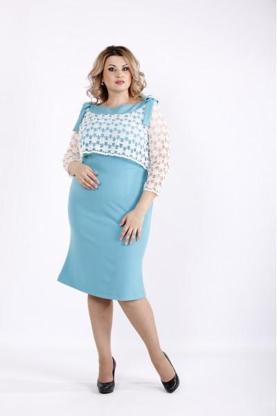 Платье с макраме на груди и прозрачными рукавами   0908-3